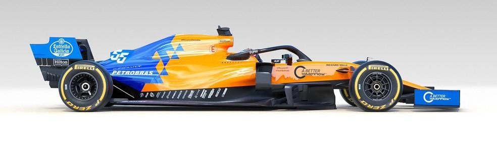 A McLaren MCL34 de 2019 vista de lado — Foto: Divulgação