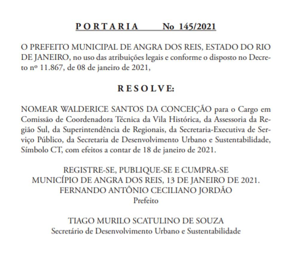 Publicação no Boletim Oficial da Prefeitura de Angra dos Reis — Foto: Divulgação/Site da prefeitura de Angra dos Reis