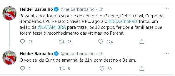 Corpos de paraenses mortos em acidente no Paraná chegam a Belém na quinta