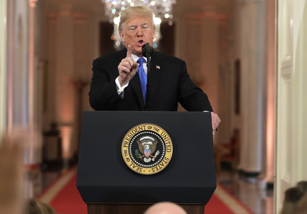 Donald Trump em coletiva de imprensa na Casa Branca  — Foto: Evan Vucci/AP Photo