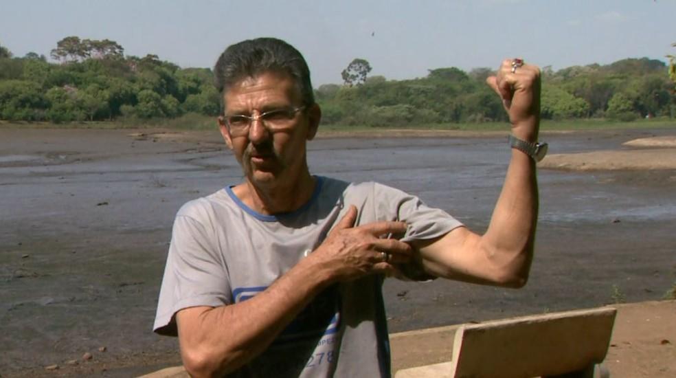 O auxiliar de serviços gerais Nilson Salles, que estava em barco sugado por represa em Franca, SP (Foto: Reprodução/EPTV)
