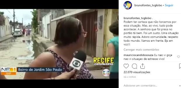 Mulher fica presa em portão durante telejornal ao vivo e viraliza nas redes sociais