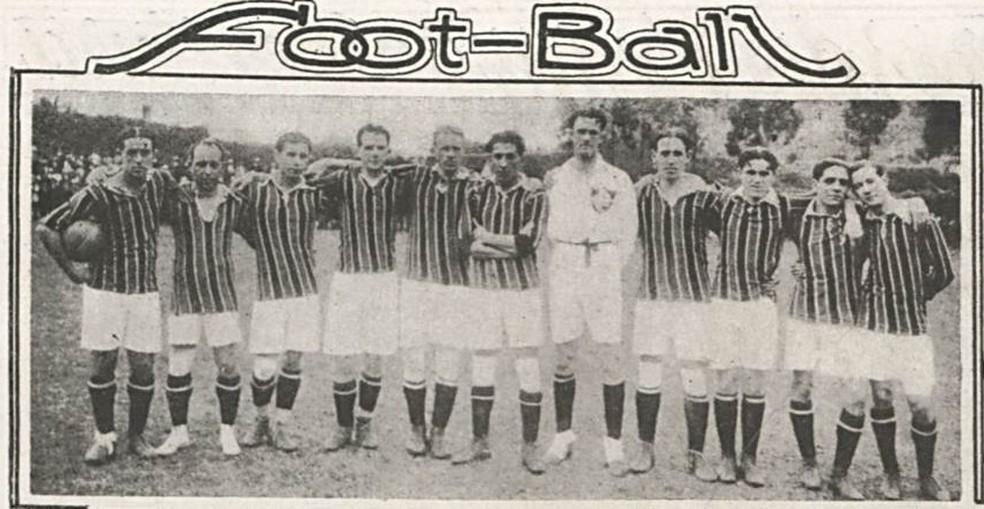 Time do Fluminense, campeão em 1918, antes de jogo com Flamengo e da paralisação do Estadual pela gripe espanhola — Foto: Reprodução/Revista O Malho/Fundação Biblioteca Nacional