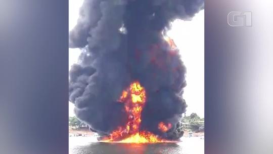 Embarcação com combustível explode e deixa uma pessoa com queimaduras graves, no Pará