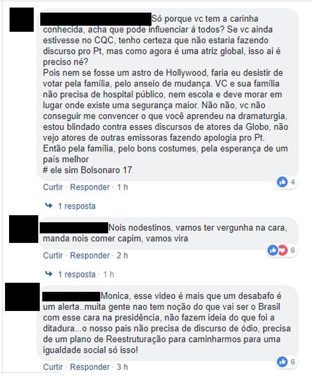 Internautas comentam vídeo em que Monica Iozzi desabafa  (Foto: Reprodução/Facebook)