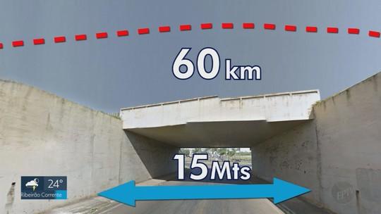 Caminhonete 'voa' por cima do vão de viaduto e passageiros escapam ilesos em Orlândia, SP