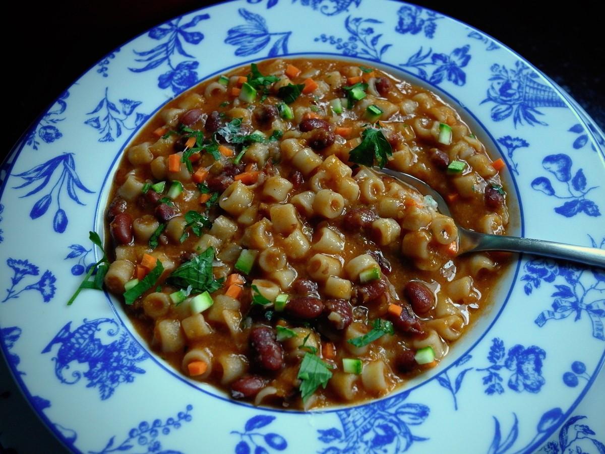 O pasta e fagioli pronto para a mesa (Foto: André Lima de Luca)