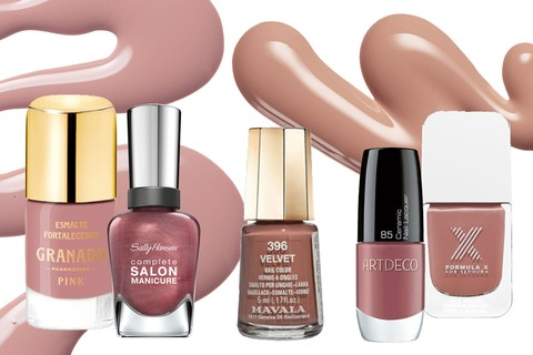 Antonieta, Granado (R$ 21); Raisin the Bar, Sally Hansen (R$ 29,90); Mini Color Velvet, Mavala (R$ 27); Cor 85, Artdeco (R$ 37,90); Impeccable, Formula X (R$ 49)