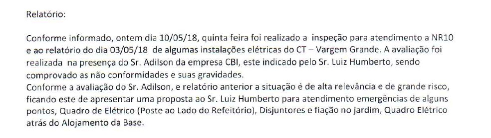Trecho do relatório que apontava necessidade de reparos no sistema elétrico do Ninho, CT do Flamengo — Foto: Reprodução