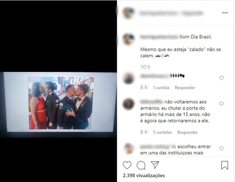 Não se calem', diz PM alvo de criticas  após beijo gay durante formatura no DF — Foto: Instagram/Reprodução