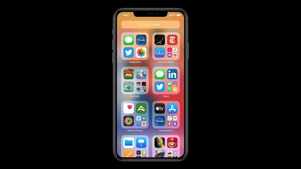 App Library do novo iOS 14 — Foto: Reprodução/Apple
