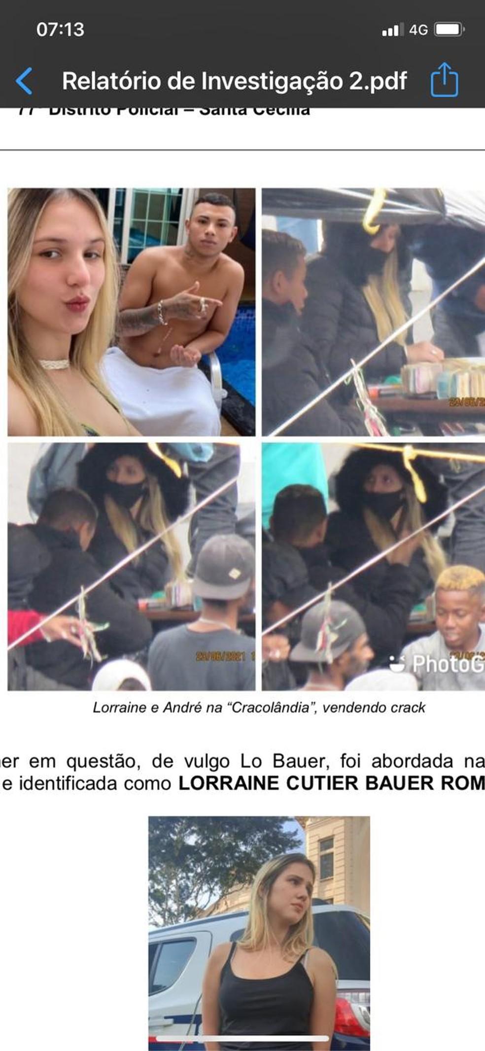 Relatório da polícia mostra Lorraine em tendas na Cracolândia — Foto: Reprodução