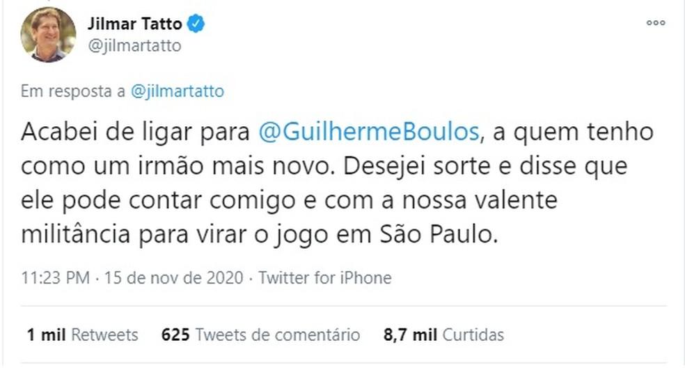 Jilmar Tatto declara apoio a Guilherme Boulos no segundo turno na disputa na capital paulista.  — Foto: Reprodução/Twitter