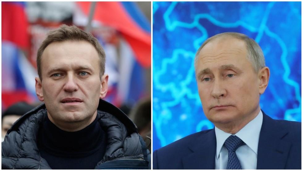 Montagem mostra Alexei Navalny, líder político de oposição ao governo russo, e Vladimir Putin, presidente da Rússia — Foto: Pavel Golovkin/AP e Mikhail Klimentyev/Sputnik/AFP