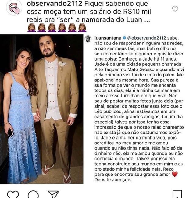 Luan Santana escreve desabafo (Foto: Reprodução/Instagram)