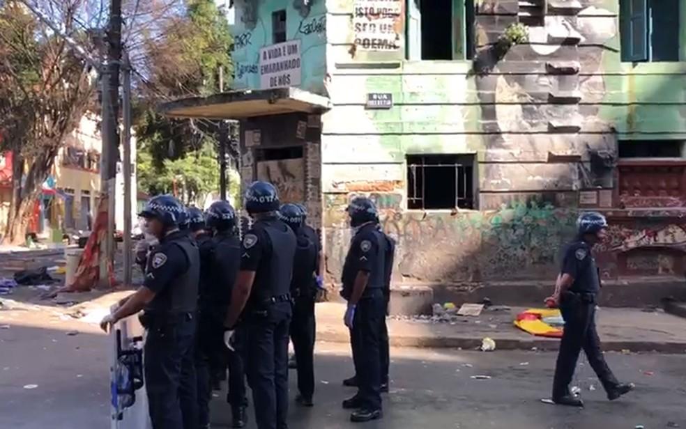 Operação policial na Cracolândia, em SP — Foto: Reprodução/TV Globo