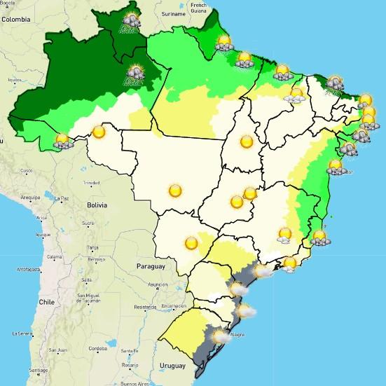 Mapa do Inmet com previsão do tempo para esta terça-feira (13/7) (Foto: Inmet/Reprodução)