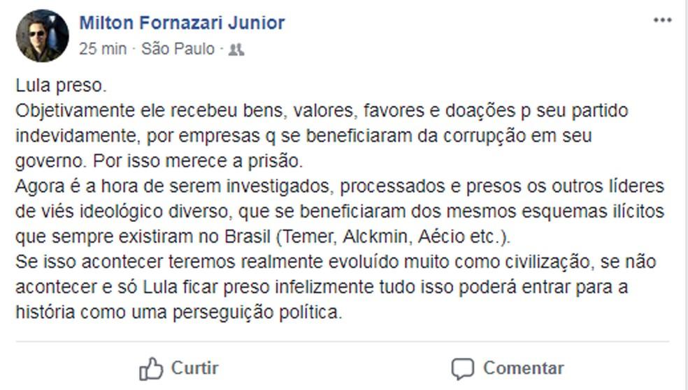 Posto do delegado da PF Milton Fornazari Junior em sua conta no Facebook (Foto: Reprodução/Facebook/Milton Fornazari Junior)