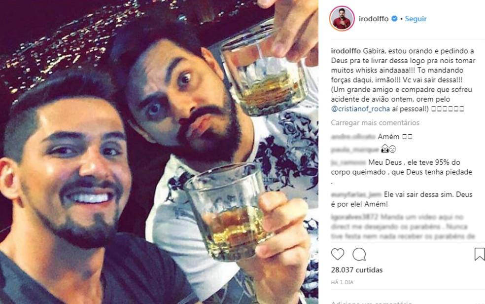 Cantor Rodolffo, da dupla com Israel, também posta mensagem para Cristiano Felipe Rocha (Foto: Instagram/ Reprodução)