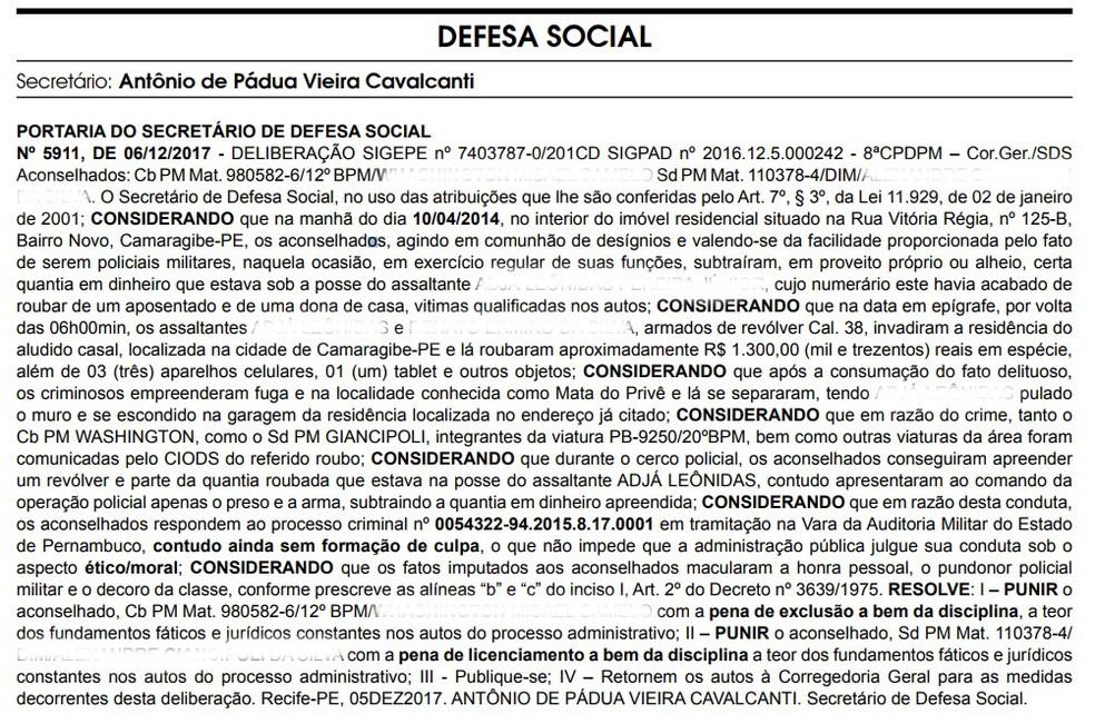 Portaria foi publicada no Diario Oficial desta quinta-feira (7). (Foto: Reprodução/Diário Oficial de Pernambuco)