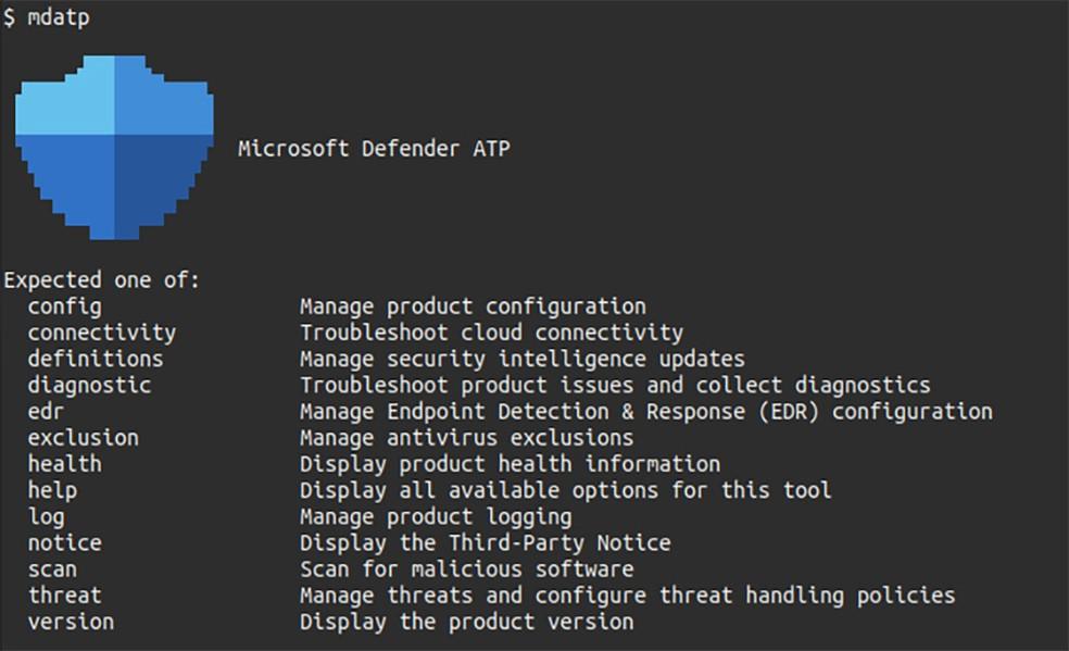 Interface em linha de comando do Microsoft Defender ATP no Linux. — Foto: Reprodução/Microsoft