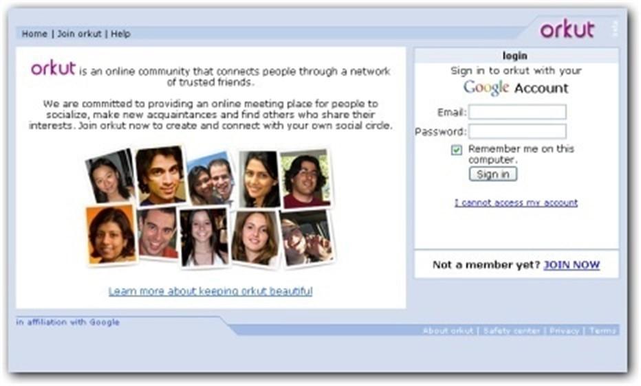 Home do Orkut é clássica (Foto: Reprodução/Orkut)