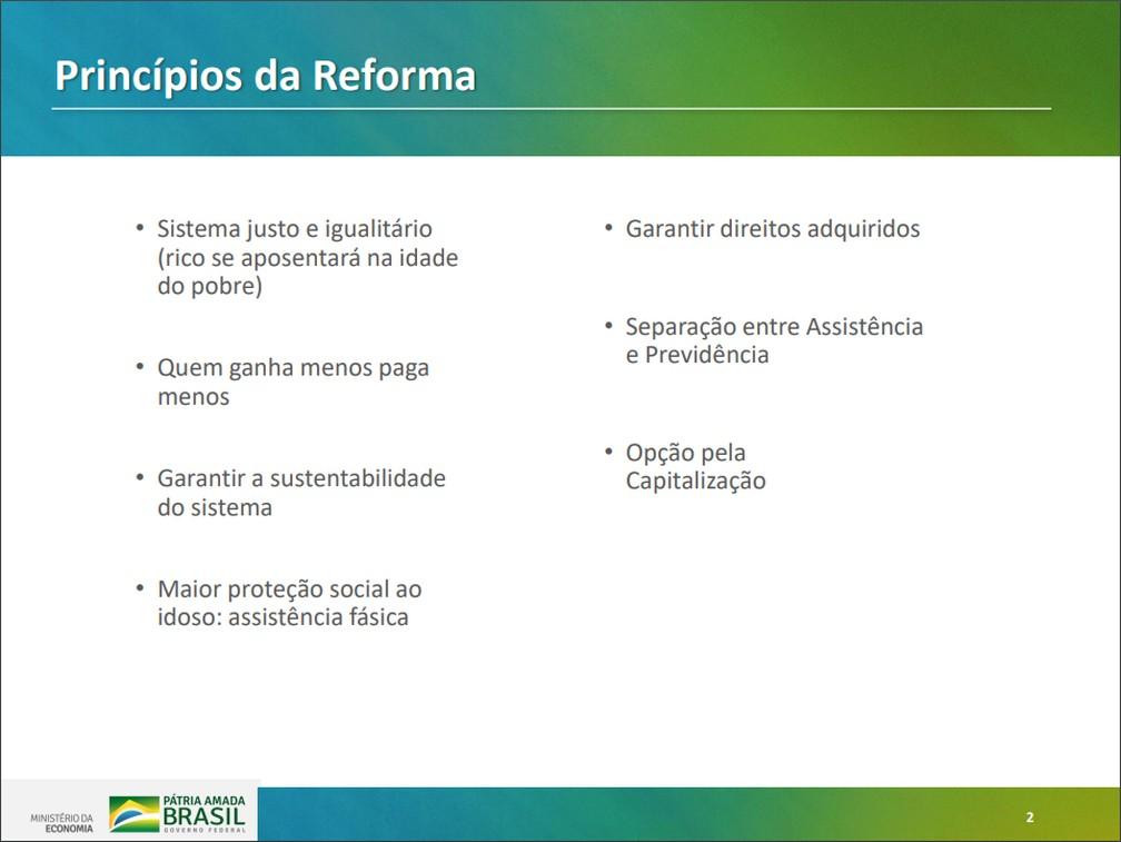 Princípios da proposta apresentada pelo governo para Previdência Social — Foto: Reprodução/Ministério da Economia