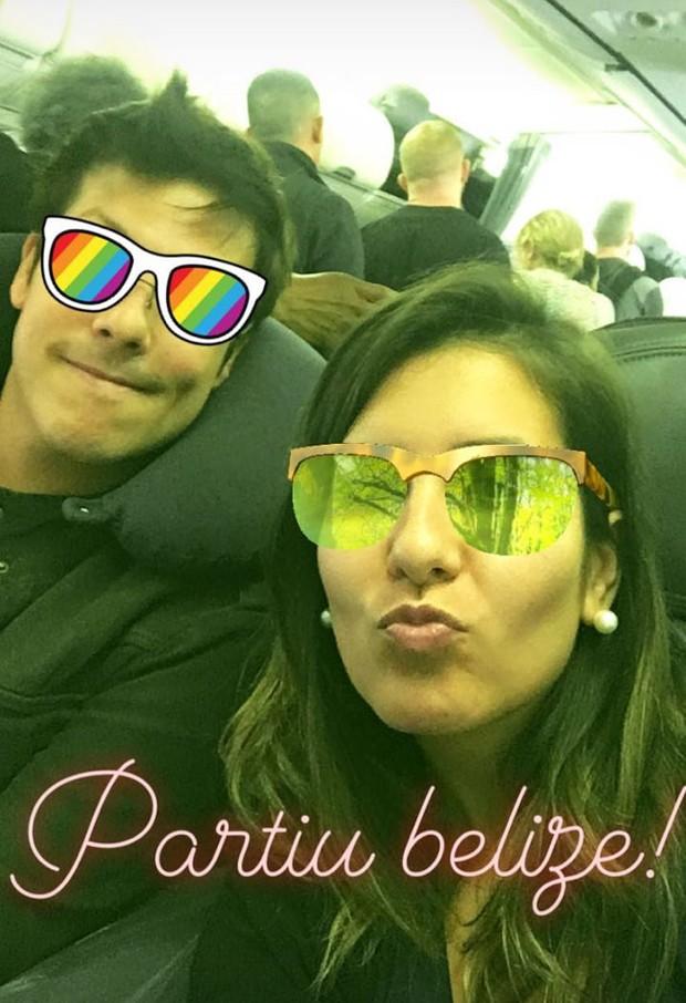 Fábio Porchat e Nataly Mega viajando para Belize (Foto: Reprodução/Instagram)