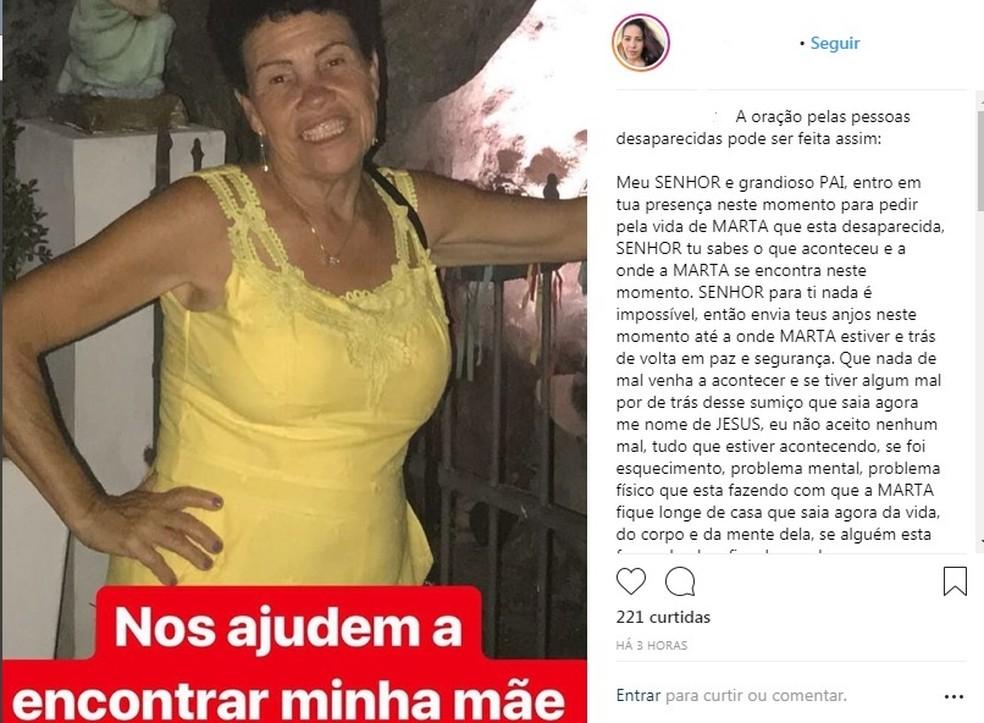 Família da idosa fez campanha nas redes sociais em busca do paradeiro  (Foto: Reprodução / Redes sociais)