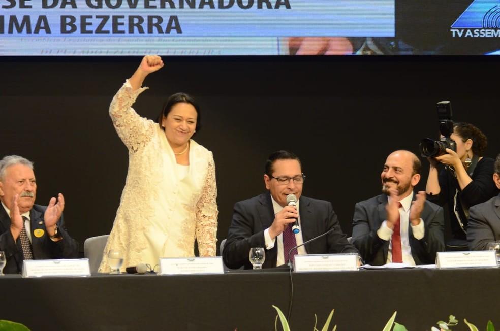 Fátima Bezerra (PT) é empossada governadora do Rio Grande do Norte — Foto: Ney Douglas