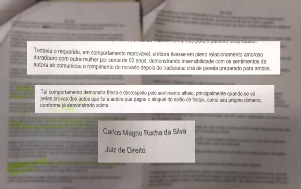 Juiz disse que comportamento do noivo foi 'reprovável' e 'insensível', em Goiânia (Foto: TJ-GO/Reprodução)