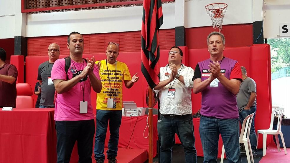 Candidatos Ricardo Lomba, Rodolfo Landim, José Carlos Peruano e Marcelo Vargas nas eleiçções de 2018 — Foto: Reprodução/Twitter Flamengo