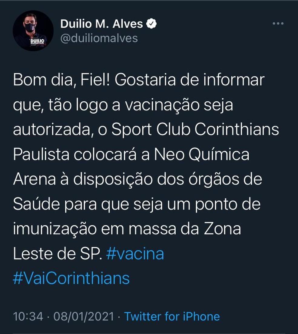 Presidente do Corinthians diz que oferecerá a Arena para ser posto de vacinação — Foto: Reprodução