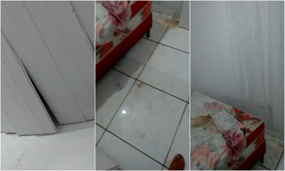 Proprietária relata que residência foi entregue com forro mal colocado, vazamento e rachaduras nas paredes — Foto: TV Verdes Mares/Reprodução