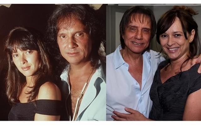Myrian Rios e Roberto Carlos quando se relacionavam e, à direita, em foto como amigos (Foto: Fernando Quevedo e Instagram)
