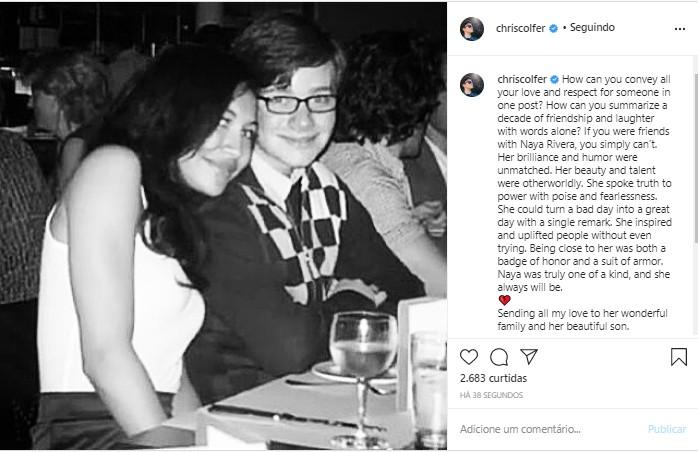Chris Colfer homenageia Naya Rivera em post (Foto: Reprodução/Instagram)