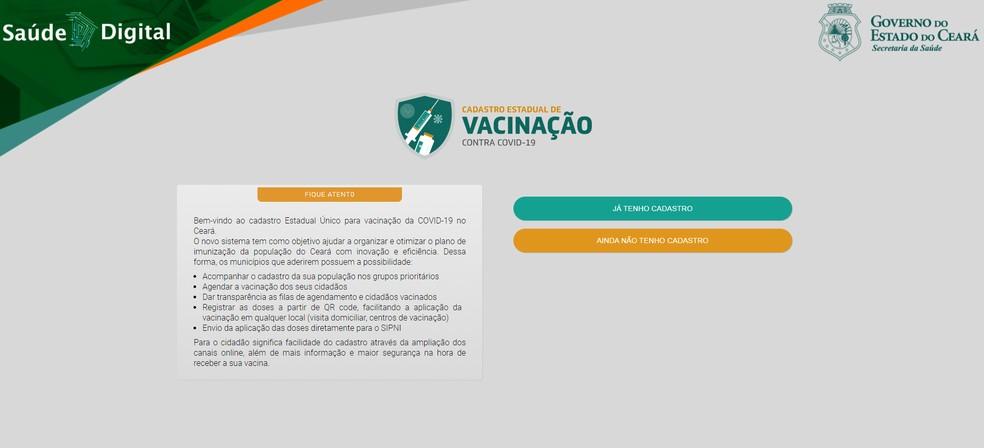 Plataforma Saúde Digital do Ceará reúne cadastros para vacinação contra Covid-19. — Foto: Sesa/Reprodução