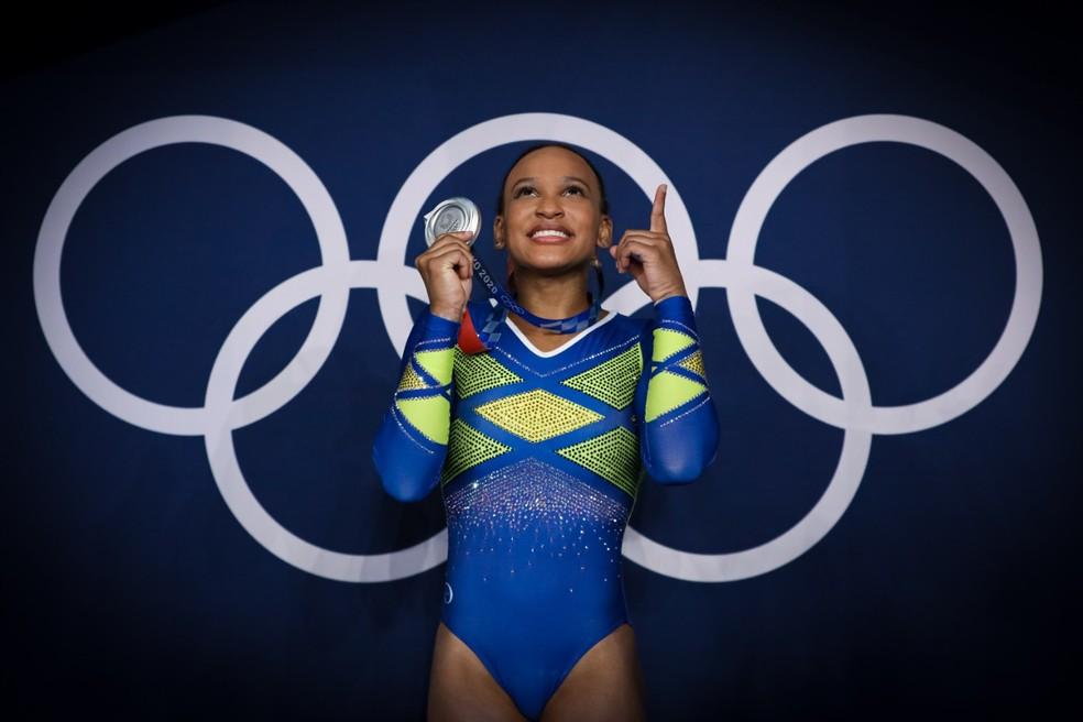 Rebeca Andrade conquista prata nas Olimpíadas — Foto: Ricardo Bufolin / Panamerica Press / CBG