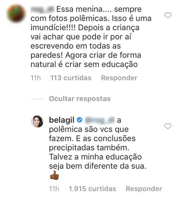 Resposta de Bela Gil (Foto: Reprodução/Instagram)