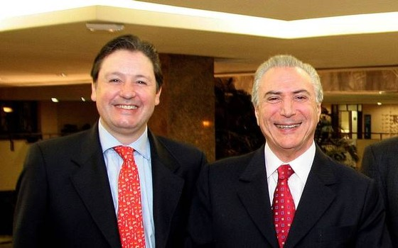 O ex-assessor especial da Presidência Rodrigo Rocha Loures e Michel Temer (Foto: Reprodução)