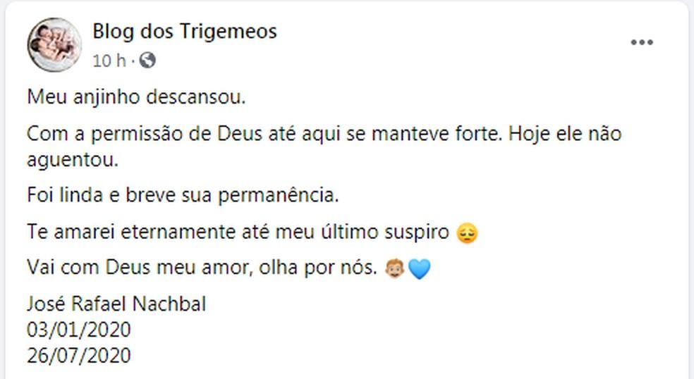 Talita publicou uma homenagem ao filho no Blog dos Trigêmeos — Foto: Facebook/Reprodução