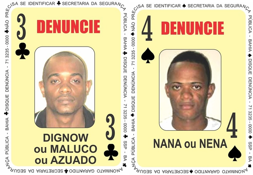 """Homicida e um traficante foram adicionados ao """"Baralho do Crime"""" . — Foto: Divulgação/SSP"""