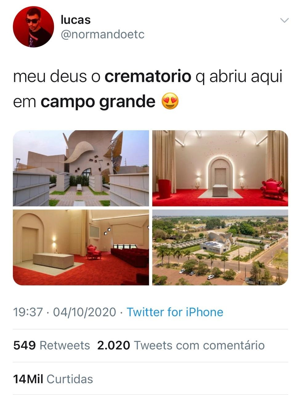 Novo crematório em Campo Grande chama atenção nas redes sociais com arquitetura fora do convencional (Foto: Reprodução/Twitter)