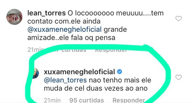 Xuxa respondendo fã no Instagram (Foto: Reprodução/Instagram)