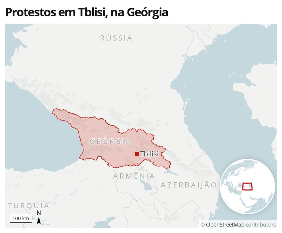Mapa identifica a cidade de Tblisi, na Geórgia, onde manifestantes protestaram após prisão de opositor — Foto: G1 Mundo