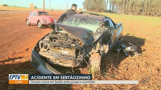 Torneiro mecânico morre em colisão entre picape e caminhão em Sertãozinho, SP