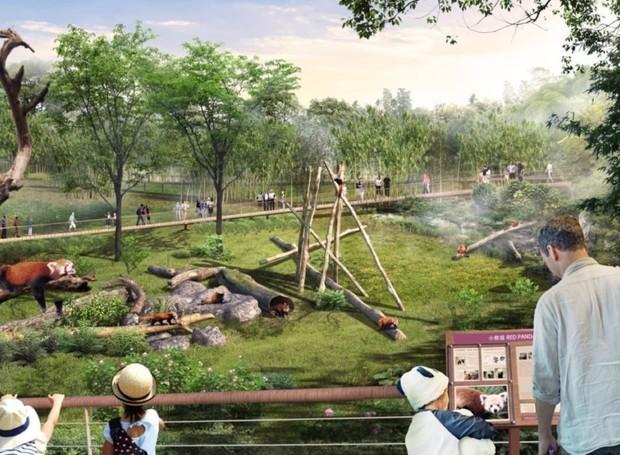 Com poucas barreiras entre as construções e a natureza, o local prevê o estímulo da reprodução dos pandas-gigantes (Foto: China Discovery/ Reprodução)