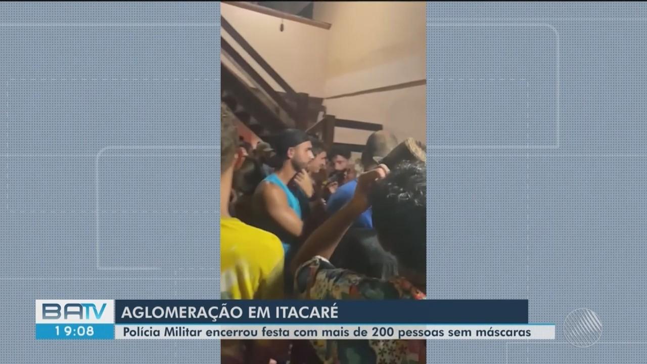 PM encerra festa com mais de 200 pessoas sem máscaras em Itacaré, sul da BA