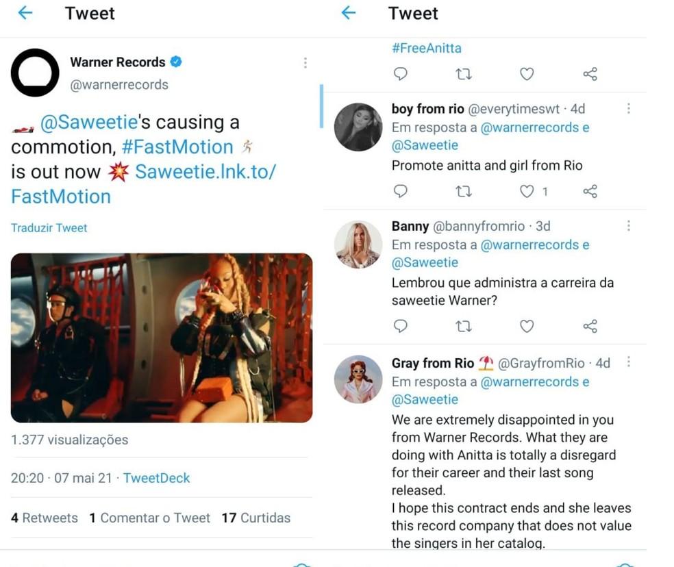 Mesmo em posts da Warner sem relação com a Anitta, como este sobre a rapper Saweetie, os fãs de Anitta vão lá cobrar a gravadora — Foto: Reprodução