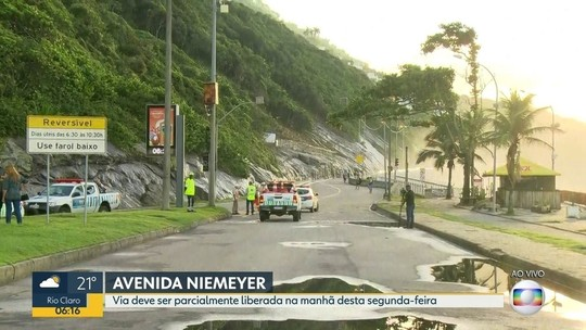 Av. Niemeyer é parcialmente reaberta após interdições por temporal